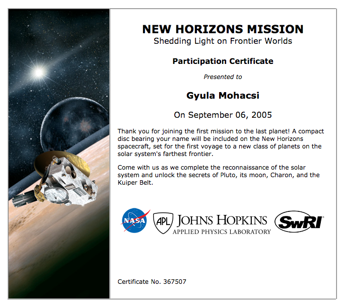 New Horizon certificate